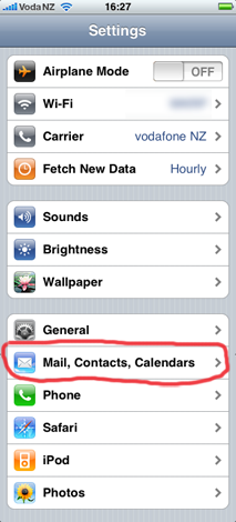 Screenshot of iPhone: Settings app