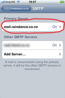 Screenshot of iPhone: SMTP screen