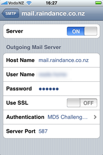 Screenshot of iPhone: SMTP Server settings screen